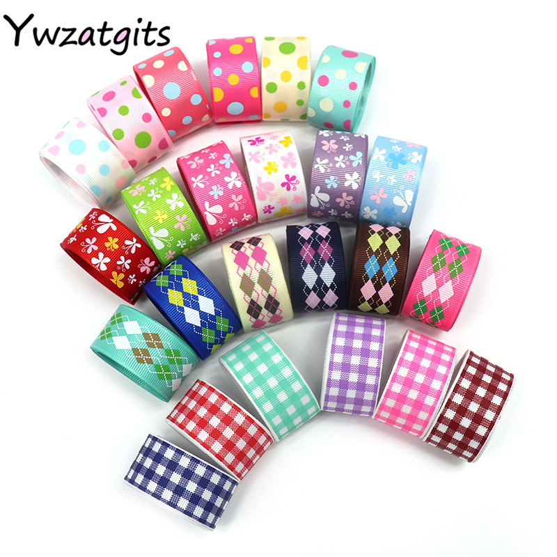 ywzatgits Geometric Flower Dot Printed Grosgrain Ribbons Sewing Satin Ribbon Party Wrapping Decoration Materials 6y 040054006