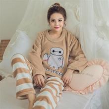 Autumn Winter Women Pyjamas Sets Coral Velvet Suit Flannel Cartoon Bear Animal Pants Thick Warm Long Sleeve Female Sleepwear