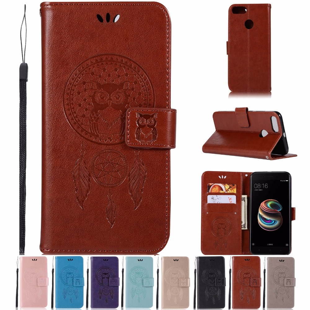 AIGLAT Case For Xiaomi Mi 5X / Mi A1 PU Leather Case Stand Function Card Holder Embossed Owl Magnetic Flip Wallet Purse Case