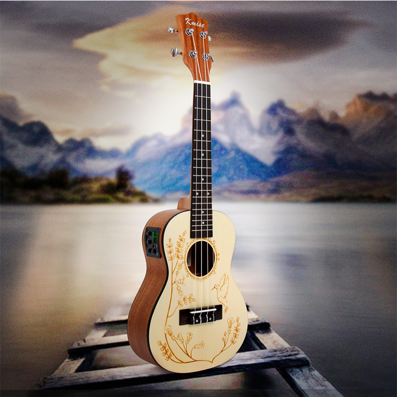Kmise Ukulele Concert Electric Acoustic Solid Spruce Ukelele Uke 23 inch 18 Frets 4 String Hawaii GuitarKmise Ukulele Concert Electric Acoustic Solid Spruce Ukelele Uke 23 inch 18 Frets 4 String Hawaii Guitar