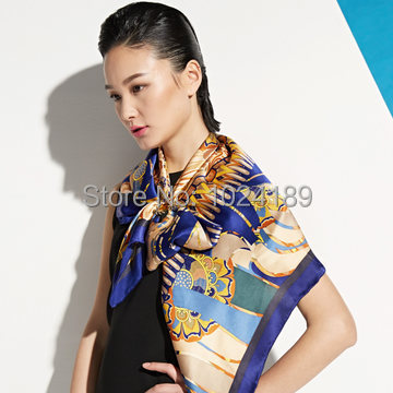 New2014 женщины весна лето большие квадрат синий desigual цветочный printed100 % чистого шелк шарф шали 106 * 106cmSK075