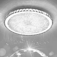 Modern luxury chrome round crystal ceiling lighting bedroom living room plafon lamp ceiling light with plafonnier led moderne
