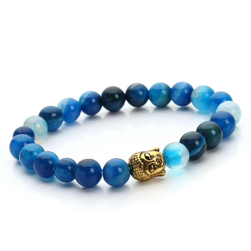 2016 New Summer Style Natural Blue Bead Stone Beads Bracelet Men Antique Gold/Silver Color Buddha Head Bracelets Bangles F2828