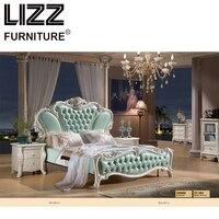 Честерфилд Royal bed room Мебель набор антикварных Стиль Мебель твердая деревянная тумбочка роскошные кожаные King Размеры кровать твердых пород д