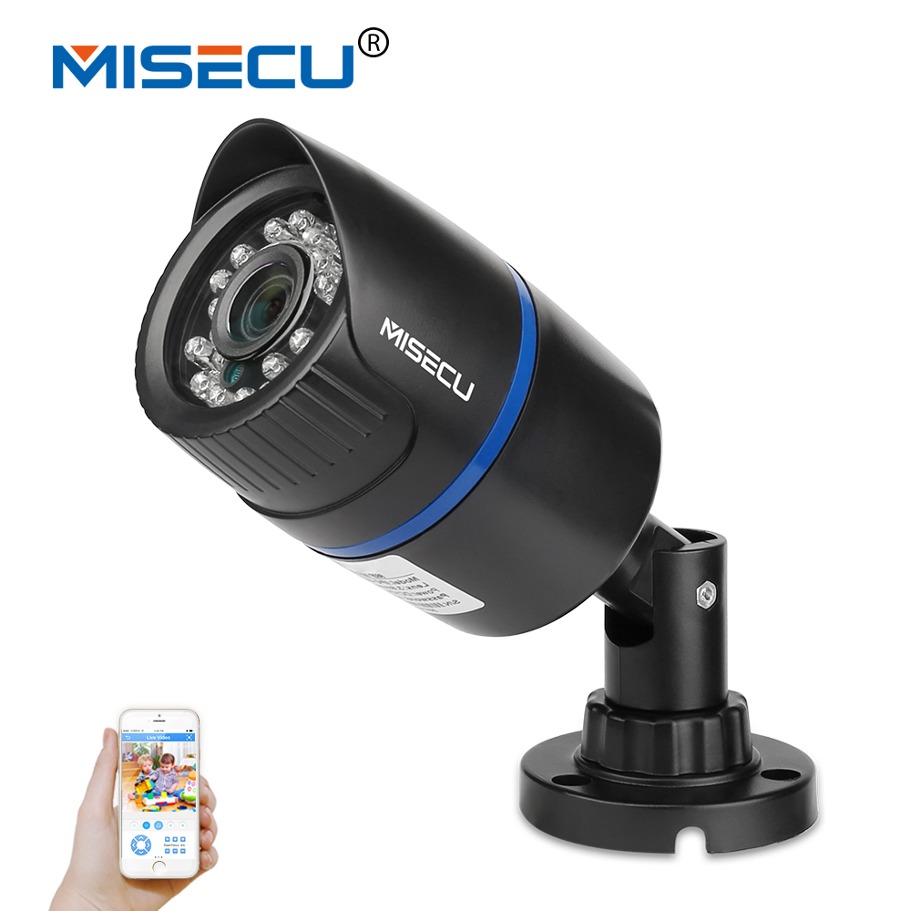 MISECU 1.0MP Onvif P2P HD 720P bullet IP Night Vision Camera 1280*720P CMOS 24pc Motion detect ABS Camera home security XMEye