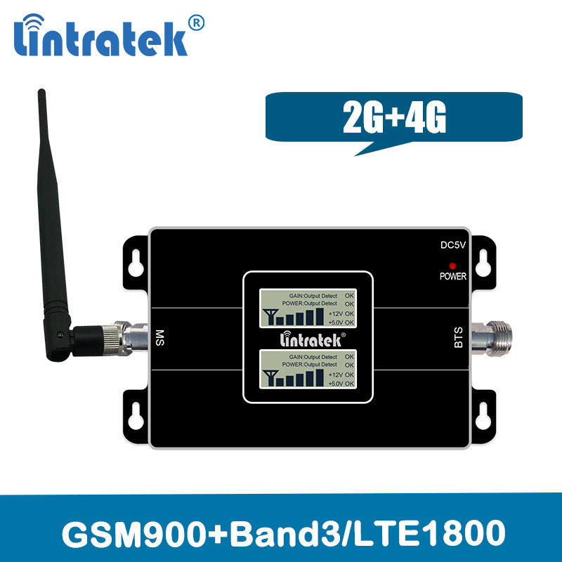 Lintratek 4G Lte 1800 cellular signal repeater GSM 900 Handy Verstärker 2G 4G 65dB Dual Band signal Booster + Indoor Antenne