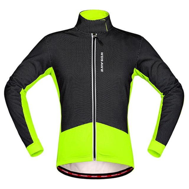309c5343b7f26 Chaqueta verde fluorescente térmica a prueba de viento ciclismo chaqueta  hombres mujeres ciclismo chaqueta impermeable MTB