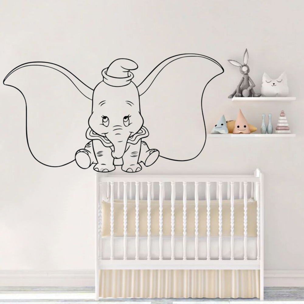 Us 5 77 35 Off Dumbo Elephant Wall Decal Cartoons Animal Vinyl Sticker Nursery Rooms Home Interior Art Decor Removable Mural Az214 In