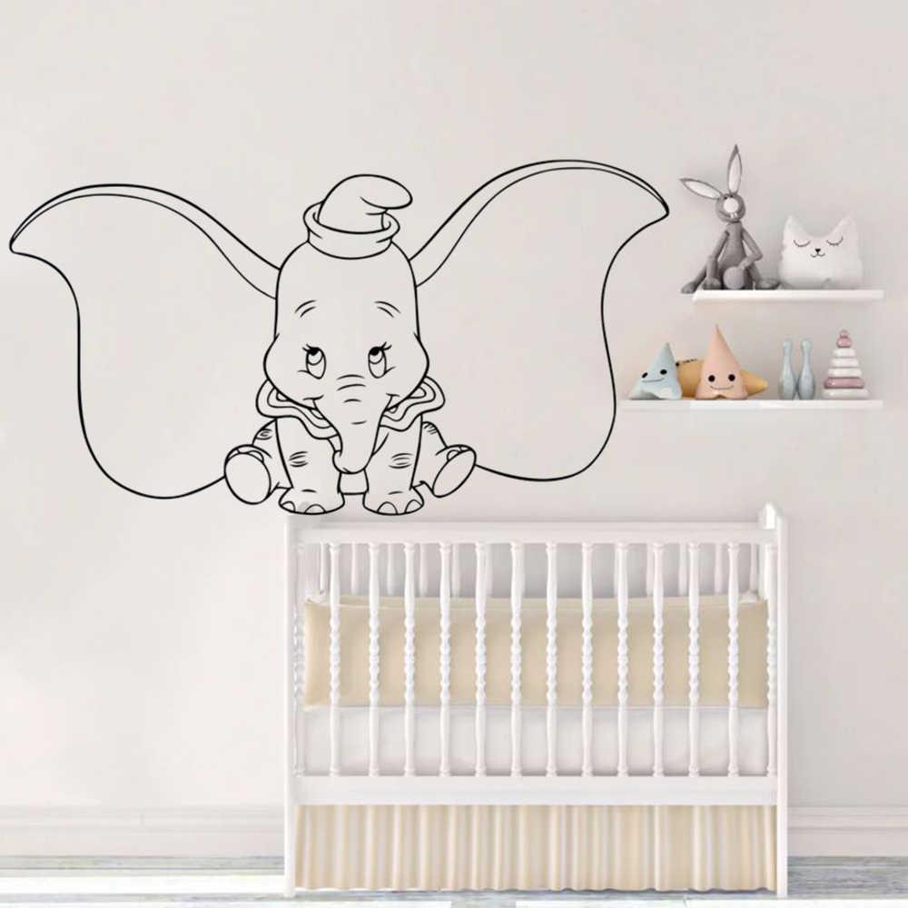 Dumbo Elephant Mur Decalcomanie Dessins Anime Animal Vinyle