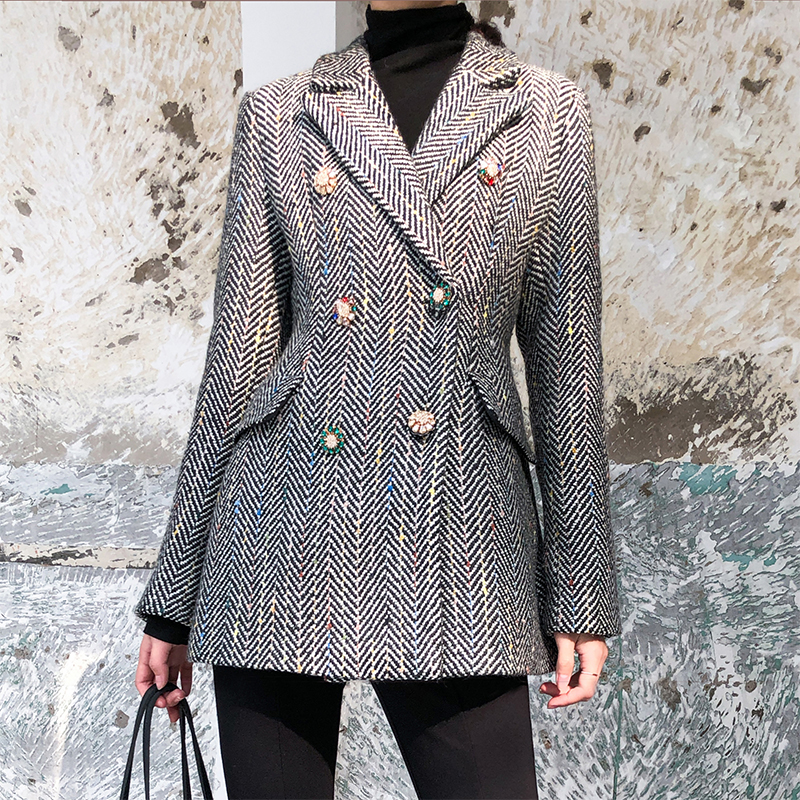 New Vintage Women's Wool Jacket Double Breasted Long Sleeve Striped Diamonds Outwear Tops Spring Autumn Office Long Blazer Women