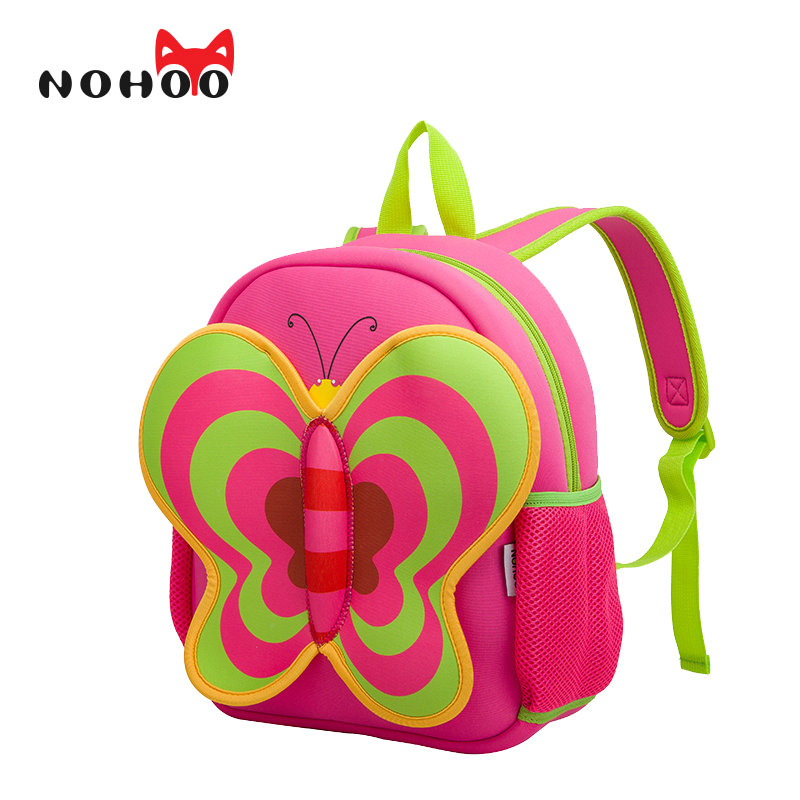 NOHOO Butterfly Waterproof Children School Bags Cartoon Animals School Backpacks For Teenage Girls Pre School Bag Kids Backpack nohoo toddler kids backpack 3d rocket space cartoon pre school bags children school backpacks kindergarten kids bags mochila
