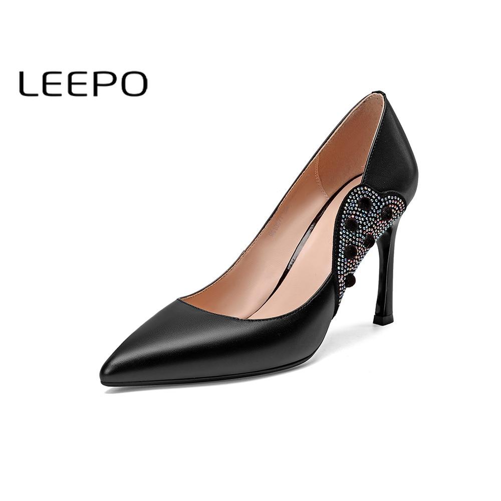 Negro Tacón Zapatos Para orange Genuino Fiesta Leepo Black Belleza Alto  Mujeres Mujer Fenty Cuero Elegante De Bombas ... 6f3d0f88c939