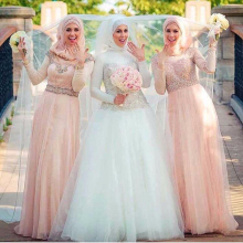 Beautiful Muslim Beading Wedding Dress Long Sleeve With Hijab Wedding Gown A Line Bridal Dress High Neck Wedding Brides Dress