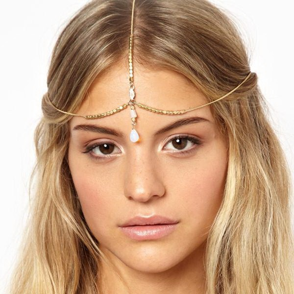 Jewelry Headband Accesories Headpieces Chain-Hair Charm Gold-Head Rhinestone Boho Bohemian