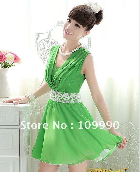 Summer green purple Chiffon Lace belt cute sleeveless kimono collar women  dress new fashion free shipping cool perfect S M L XL c3f348fb9