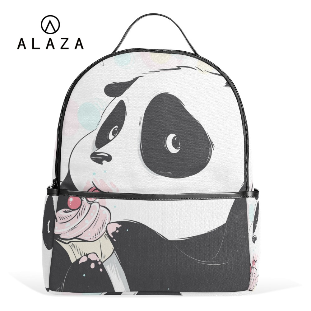 ALAZA Cute Panda Backpack for Boys Girls School Bookbag Laptop Backpack Large Capacity Stundet Backpack Casual Style Bag