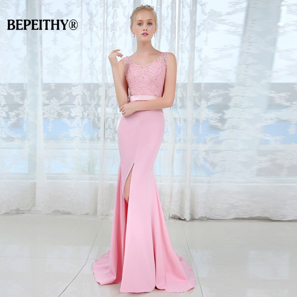 Vestido De Festa V Neck Long   Bridesmaid     Dresses   Sexy Middle Slit Sleeveless Wedding Party Gown 2019