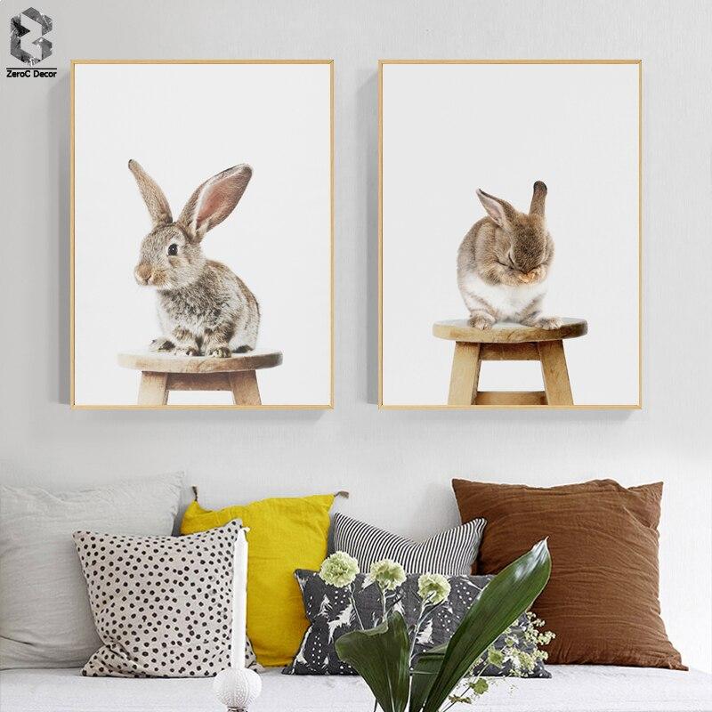 Милый ребенок Животное Кролик хвост холст Художественная печать и плакат, Детские лесники зайчик холст живопись изображение на стену, севе...