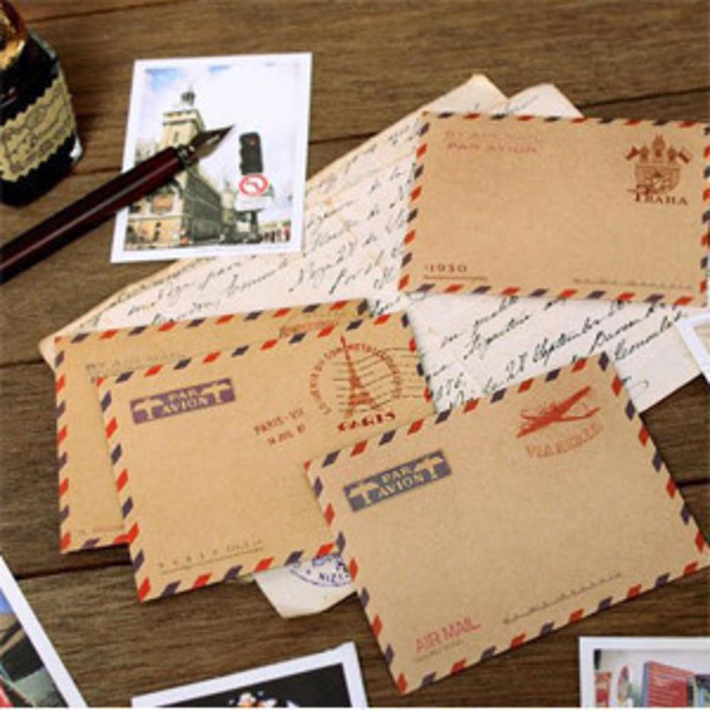 (10 pieces/lot) Large Vintage Envelope Postcard Letter Stationery Paper AirMail Vintage Office Supplies Kraft Envelope 11*16
