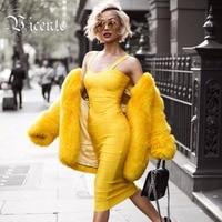 Free Shipping!!! 2017 HOT Elegent Vneck Sweet Heart Double Straps Over-Knee Length Celebrity Bandage Dress
