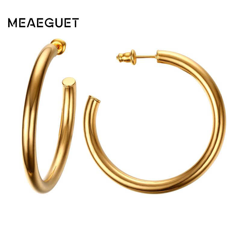 Meaeguet Classic Open Round Stud Earrings Brincos For Women Jewelry Simple Big Exaggeration Stainless Steel Ear Bijoux