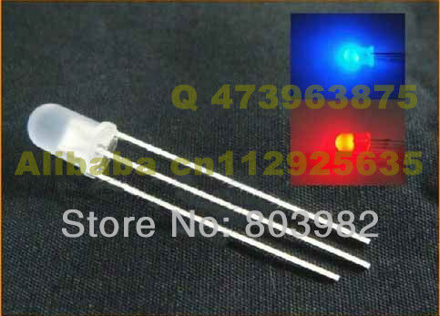 2-Color DIP LED 5mm round RED&BLUE LED DIODE diffused Common cathode(CE&Rosh)
