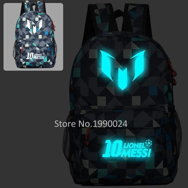 e8c59d83ab Lionel Messi Noctilucent School Bags Book Backpacks Cartoon Bag Fashion  Shoulder Bag Students Bagpack Travel Bag Mochila Escolar
