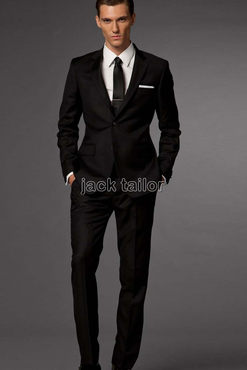 Online Shop custom made slim fit business suit black Groom Tuxedos ...