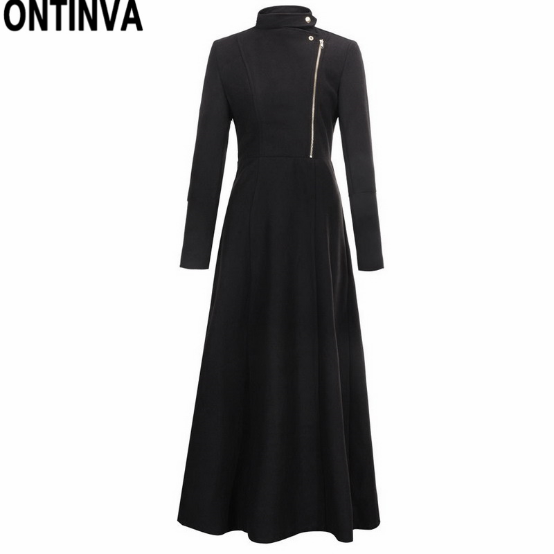 Women Winter Solid Long Wool Coat Navy Blue Black Slim Work Office Trench Coat Cape Lady