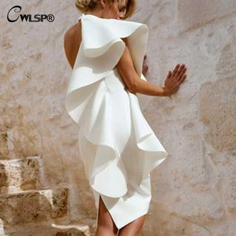 ... CWLSP White One Shoulder Knee-Length Summer Woman Dress Split Slim  Dresses High Waist Backless ... 834a0b6bf