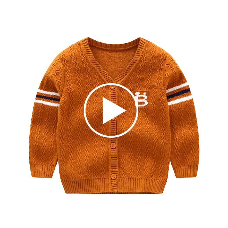 New Cotton Baby Sweater Long Sleeve Button Cartoon Sweaters Single Row Button Cardigan Crochet Baby Boy Sweaters Autumn Winter