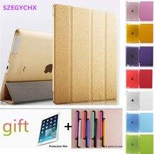 De seda de cuero case carcasa protectora para ipad 2/3/4 case cover + touch pen + película protectora de la tableta, SZEGYCHX