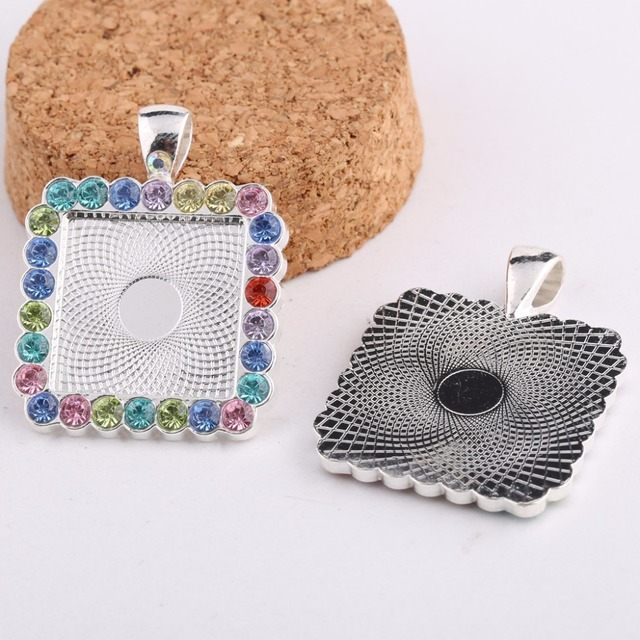 Onwear 5pcs silver plated rhinestone cabochon base settings 20mm onwear 5pcs silver plated rhinestone cabochon base settings 20mm square pendant bezel blanks diy jewelry back mozeypictures Image collections