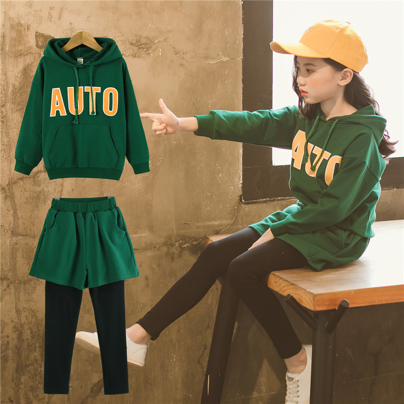 Girls clothes for girls 12 years hoodie pants autumn long sleeve teenage children sports suit tracksuit for girls clothing sets cute zippered long sleeve hoodie for women