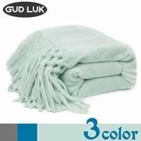 130*160 см, одноцветное фланелевое одеяло, Тканое одеяло ручной работы для дивана/постельных принадлежностей, мягкая зимняя теплая плоская про...