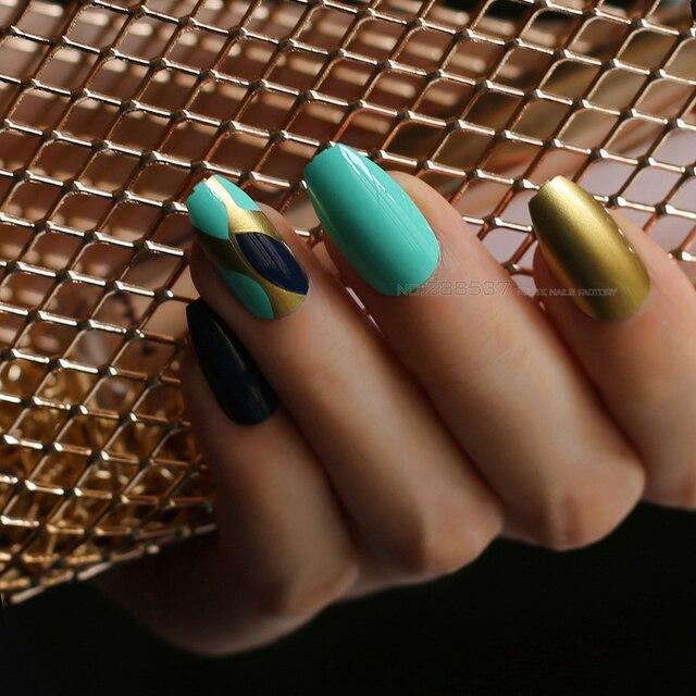 Many Shiny Green Ballerina Fake Nail Coffin Nail Tips Designs Matte