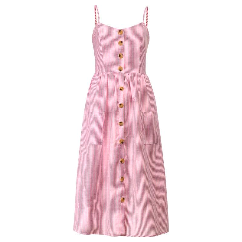Button Striped Print Cotton Linen Casual Summer Dress 2019 Sexy Spaghetti Strap V neck Off Shoulder