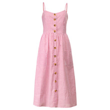 Button Striped Print Cotton Linen Dress