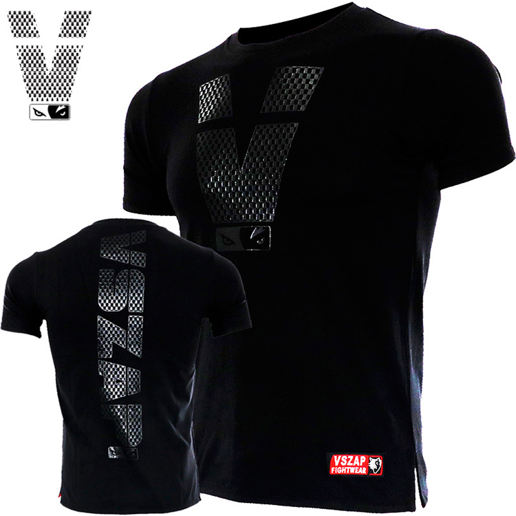 VSZAP Fitness T-shirt Short Sleeve Fighting Man Sport Fight  Muscle Running Dog Brother  Boxing MMA