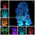 Star Wars R2D2 de Color Cambio de La Lámpara AT-AT BB-8 Death Star Stromtrooper Millennium Falcon 3D Luz Impresionante Mood Night Light