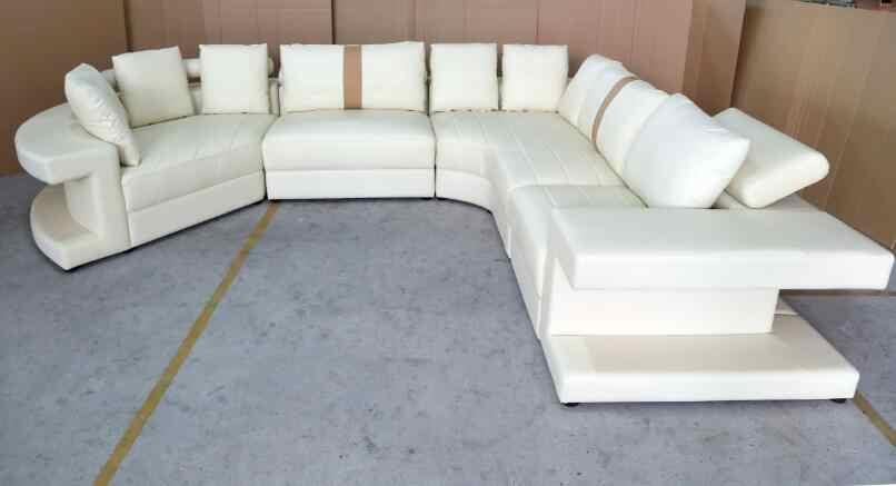 Grandes sofás de canto com Sofá de couro moderno