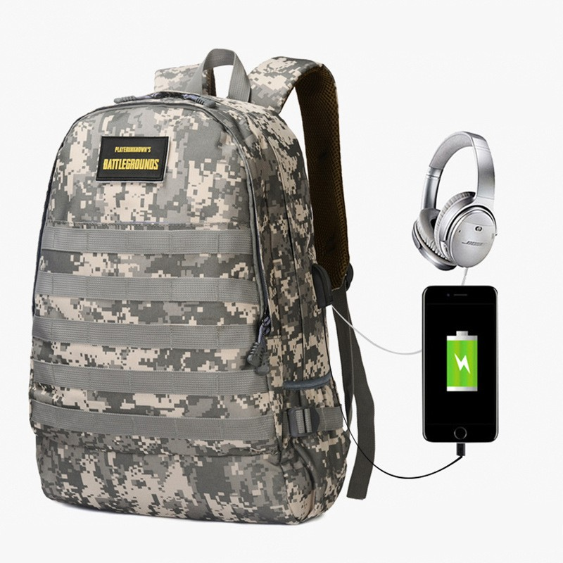 Multifunction Usb Charging Headphone Jack 16inch Laptop Backpacks Playerunknown's Battlegrounds Mandatory Three-level Backpack
