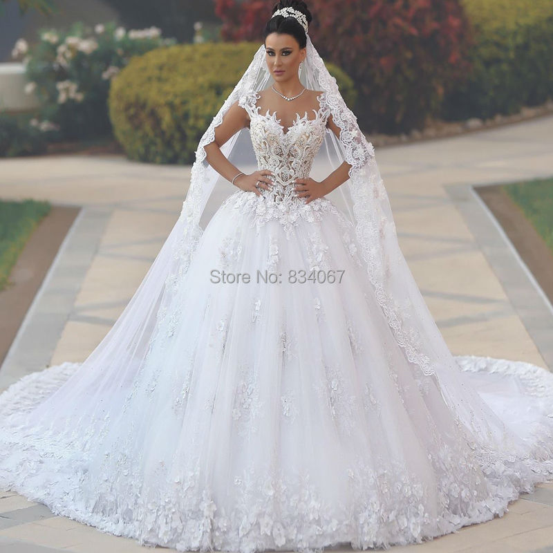 Elaborate Ball Gown Wedding Dress 2017 Embroidery Beaded Lace ...