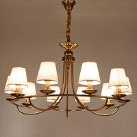 Morden Lampadario LED di Stile Dell'annata lampada a Sospensione paralume In Tessuto lampada da soffitto per Soggiorno Sala da pranzo Placcatura Attacco e14