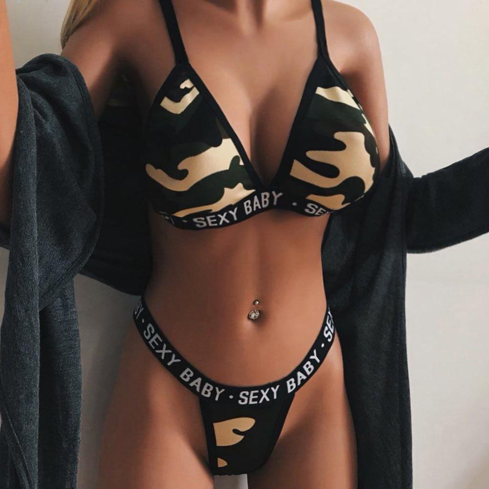 Sexy Frauen Erotische Dessous Set Brief Gedruckt Bh Slip Set Bralette Tanga Zwei Stück Set Nachtwäsche Unterwäsche Anzug Set 2019 Bh & Slip Sets