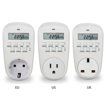 EU /US/ UK Plug Smart Power Socket Digital Timer Switch Energy Saving Adjustable Programmable Setting of Clock/ On/ Off Time