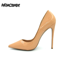 Size 34-43 Patent Geunine Leather Pointed Toe Women Pumps  8cm 10cm 12cm Sheepskin Inside Classic High Heels Shoes Pack in Box