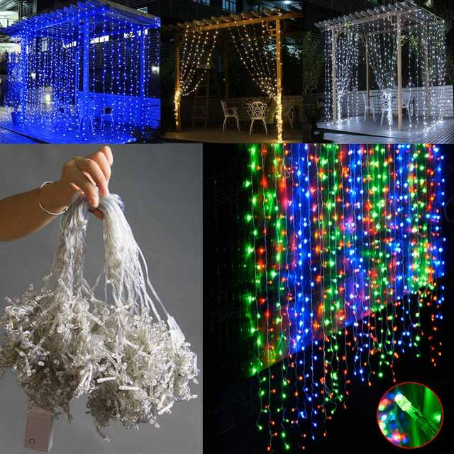 Waterfall Outdoor Light Curtain Icicle Lights String 3m X 300 Led Fairy Christmas Wedding Party