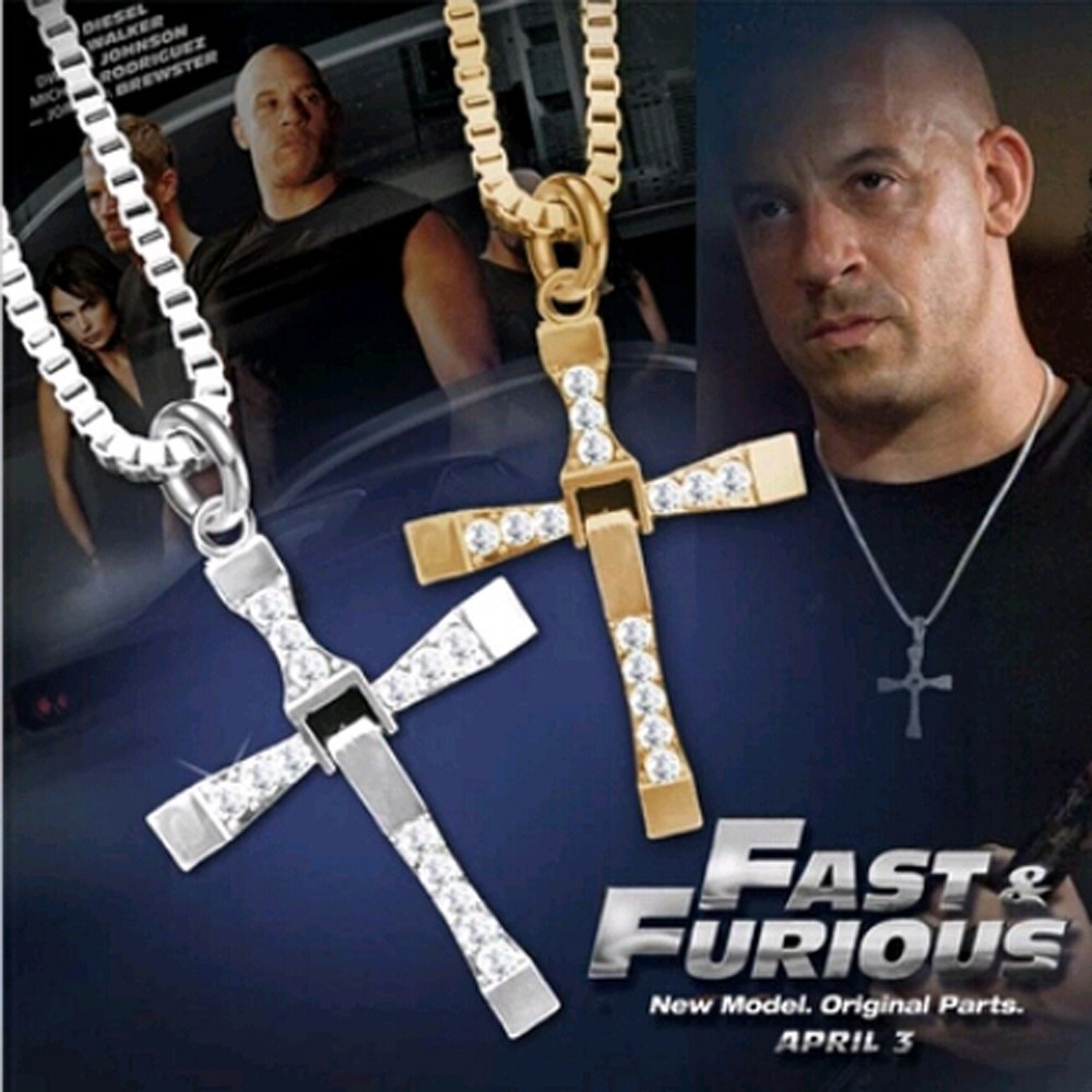 TOMTOSH Fast Toretto Rhinestone Pendant Cross Necklaces Men