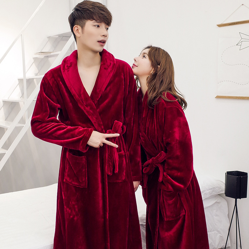 Women And Man Couples Robe Winter Long Bathrobe Male Pajamas Nightgown Excellent Polyester Fiber Sleepwear Mens Soft Robe